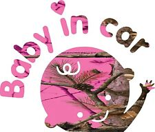 Neon Hot Pink Camo Baby in Car  Sticker  Decal