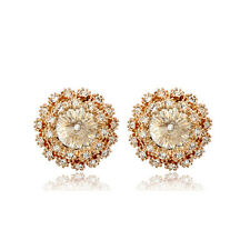 LOVELY 18K ROSE GOLD PLATED GENUINE CLEAR SWAROVSKI CRYSTAL ROUND STUD EARRINGS
