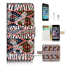 """iPhone 6 Plus (5.5"""") Print Flip Wallet Case Cover! Aztec Zebra P0406"""