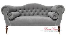 Gorgeous Bespoke Light Grey Velvet Double Ended Chaise Sofa  **HAND MADE IN UK**