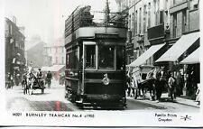 Pamlin repro photo postcard Lancashire Burnley Tram car No.4 c1905 M321