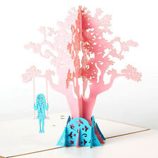 3D Pop Up Greeting Cards Swing Girl Happy Birthday Easter Anniversary Gift