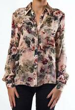 $285 HAUTE HIPPIE 100% SILK FLORAL BUTTON DOWN BLOUSE TOP   M