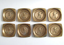 VINT ADVERTISING AMBROSIA CHOCOLATE FOOD OF THE GODS COASTER SET BRASS AMBY NIBS