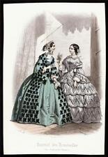 c1860's original journal des demoiselles fashion engraving paris lilac spray