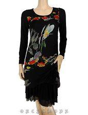 Robe ELLEA T 36 S 1 Noir Floral Volants Tunique Hiver Manches NEUF Dress Kleid