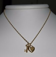Tiffany & Co. 18K Yellow Gold Puff Heart Lock & Key Pendant Necklace With Pouch