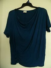 Jaclyn Smith Short Sleeve Teal Cowl Neck Top Tunic Sz L