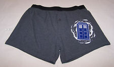 Doctor Who Tardis Mens Grey Marle Printed Cotton Boxer Shorts Size L New