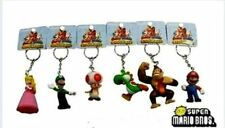 6Pcs Super Mario Luigi Princess Peach Yoshi Toad DK Figures Key/Ring Chain Set