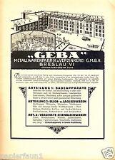 Metallwaren Geba Breslau XL Reklame 1923 Verzinkerei Zinkerei Werbung ad