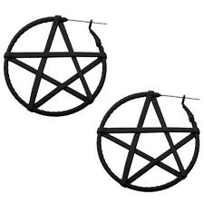 Pentagram hoop earrings body piercing jewelry plug tunnel 20g 316L gothic witch