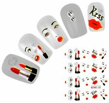 J142 NAGELSTICKER Kiss Kuss Lippenstift Gesicht Tattoo water transfer Fingernage