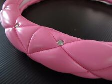 38cm Luxury Crystal Leather Car Steering Wheel Cover Pink with Crown Badge