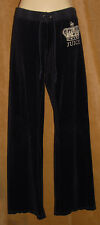 JUICY COUTURE - Black - Crown Bling Bling - Velvet VELOUR Drawstring PANTS sz P