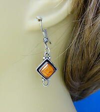 Artisan Crafted Sterling Silver Amber Dangle Earrings