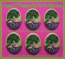 6 Unset 3/D PINK FLAMINGOS & PALM TREES 40mm x 30mm Costume Jewelry Craft CAMEOS