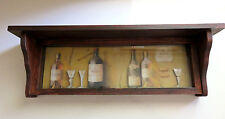 Wood Shelf Wall Decor 3-D Wine bottles Glass Cover New Man Cave 24 in. W
