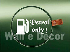 Reflective White Petrol only Decal / Sticker for Car Fuel Lid