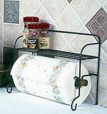 "ON THE COUNTER PAPER TOWEL HOLDER WITH SHELF 10X13"" LONG BLACK METAL"