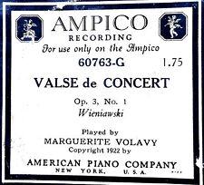Ampico VALSE de CONCERT Op. 3, No. 1 60763-G Marguerite Volavy Player Piano Roll