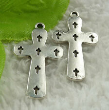 Free Ship 120 pieces tibet silver cross charms 36x21mm #4527