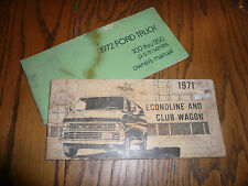 1971 1972 Ford 100 - 350 Truck Econoline Club Wagon Owner's Manuals - OEM