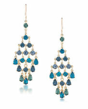 CAROLEE 'Niagra Mist' Blue Green Crystal Gold-Tone Chandelier Earrings