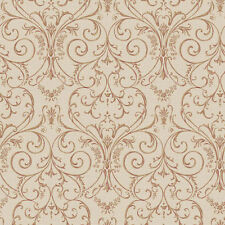 3 ROLL LOT - Scroll Damask Tan and Red FREE SHIPPING