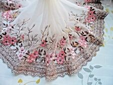 "1Y~8""~ Pink Brown Venise Embroidered Lace Trim Tulle Flower Bunch Wedding Dress"