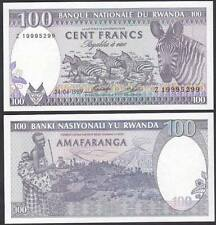 Rwanda 1989 Hundred 100 Francs Zebra UNC (P-19)