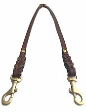 Soft Touch Collars - Leather Braided Coupler Dog Leash, Brown - Perfect For Two