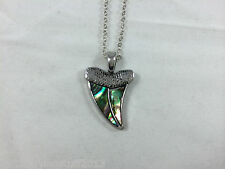Beautiful Natural Abalone Paua Shell Shark Tooth Pendant Necklace On Chain