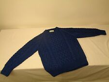 Inverallan Scotland Made Cable Knit 100% Wool Sweater Pullover Royal Blue Mens