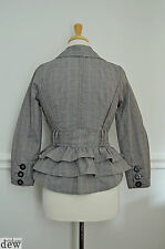 BUSTLE JACKET summer mac coat COTTON plaid VINTAGE STYLE 1940'S VICTORIAN 8 6
