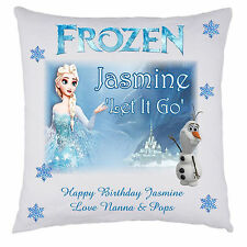 PERSONALISED FROZEN DISNEY CUSHION COVER ELSA ANNA OLAF CHRISTMAS ANY OCCASION
