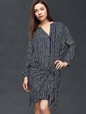 Gap Women's True Indigo Striped Wrap-Tie Stripe Shirt Dress Size XS