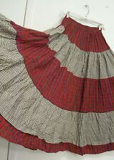 4 Tiered Blk Wht Red SCOTCH/GINGHAM Peasant Western COTTON Broomstick Skirt M