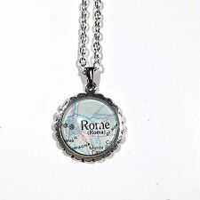 FRASCATI ROME ROMA ITALY EUROPE ROAD Map Pendant Silver necklace vntg ATLAS F04