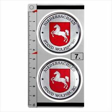 WOLFSBUR​​​ set of 2 German Number Plate Seal Stadt 3D Domed Sticker Badge