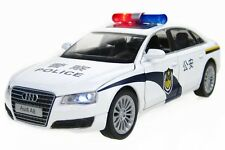 1:32 AUDI A8 Police car Alloy Diecast Car Model Toy Gift Sound&Light White 2337