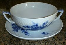 Royal Copenhagen Blue Flowers Braided Cream Soup Bowl & Saucer Set #1872 (10 Av)