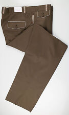 "New. BRIONI Brown Wool Tuxedo Pleated Dress Pants Size 54/38 Waist 39"" $1095"