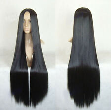"New 40"" Women Black Anime Costume Cosplay Wig Lady Halloween Long Dress Wig+Cap"