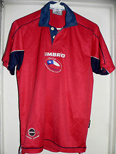 CHILE UMBRO AUTHENTIC NATIONAL SOCCER TEAM POLO SHIRT SMALL SIZE MEMORABILIA