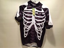 "NWT-LOC ""Skeleton"" Cycling Jersey Size L, Full Zip Racers Fit Black, Men, Polyes"