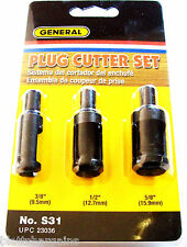 3pc GENERAL SELF EJECTING PLUG CUTTER DRILL BIT SET S31 23036 3/8 1/2 5/8 WOOD