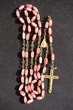 """VINTAGE """"VIRGIN MARY"""" PINK BEADS AND BRONZE CROSS BEAUTIFUL ITALY ROSARY"""