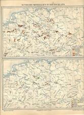 Carta geografica antica GERMANIA distribuzione MINERALI 1890 Old antique map