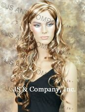 LONG spiral Wavy curly WIG Strawberry BLONDE mix Hair JSOB